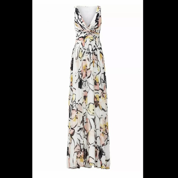 Badgley Mischka Dresses & Skirts - Badgley Mischka White Floral Maxi Dress